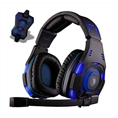 Wooku New Sades 7.1 Sound Track Pro Gaming Headset Blue LED Headset with Omni-Directional Microphone