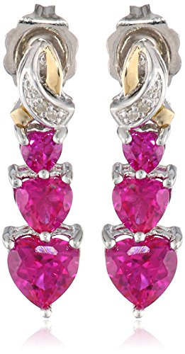 Sterling Silver and 14k Yellow Gold Diamond and Heart-Shaped Created Ruby Drop Earrings (0.01cttw)