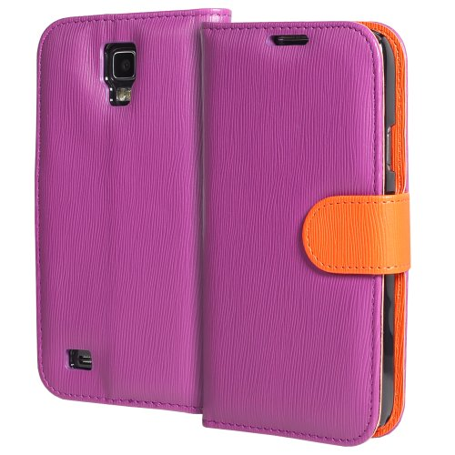 GreatShield LOLLY Series Toothpick Grain Pattern Design Wallet Flip Leather Case Cover (Stand Function) with Card/Cash Pocket Slot for Samsung Galaxy S4 Active / I9295 / SGH-I537 (Purple/Orange)