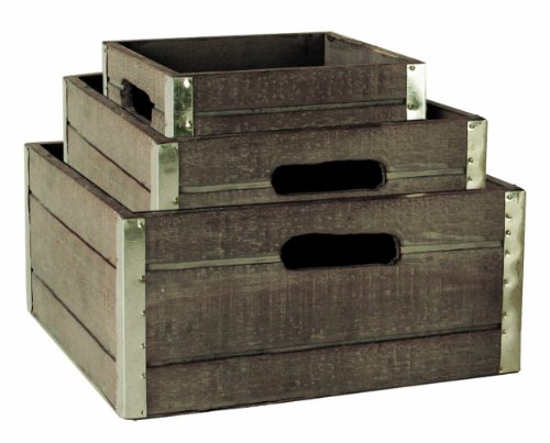 Wald Imports Set Of 3 Wood Crates With Galvanized Metal Trim, Gray front-260005