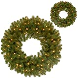 National Tree 24-Inch North Valley Spruce Wreath with 50 Battery Operated Dual LED Lights