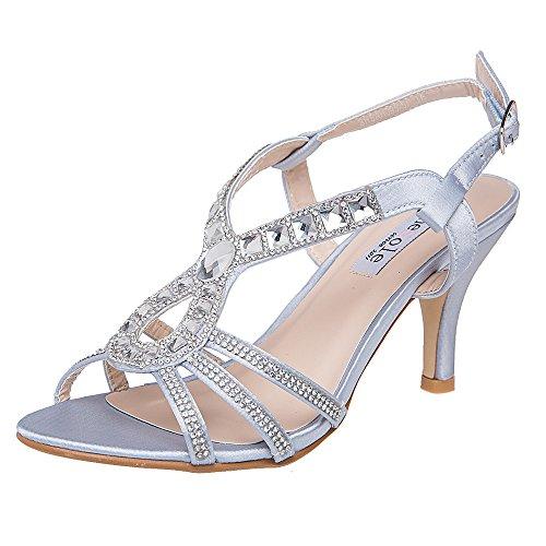 SheSole Women's Evening Rhinestone Sandals Silver US 9