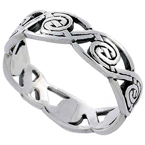 Sterling Silver Swirl Knot Wedding Band Thumb Ring 3/16 Inch Wide, Size 8