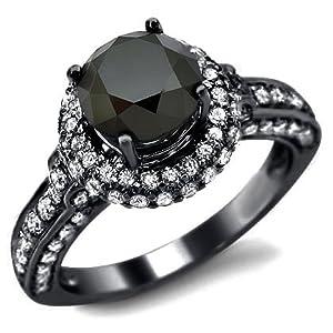2.92ct Black Round Diamond Engagement Ring 14k Black Gold Rhodium Plating Over White Gold