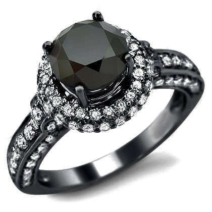 2.92ct Black Round Diamond Engagement Ring 14k
