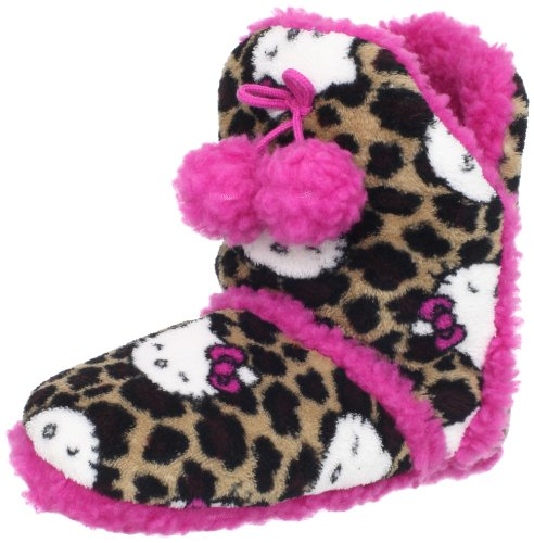Hello Kitty Girls 7-16 Pom Pom Bootie, Brown Leopard, Small
