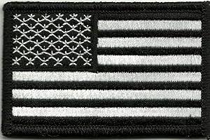 Velcro tactique pour airsoft/paintball Militaire Patch Drapeau USA noir/blanc