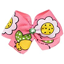 Puppy Kisses Bumble Bee Dog Hair Bow - Metal barrette closure Made with SWAROVSKI ELEMENTS
