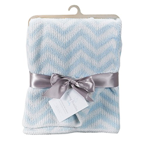Living Textiles Chevron Blanket, Blue - 1
