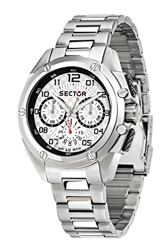 Sector No Limits 950 Men's Quartz Watch with Silver Dial Analogue Display and Silver Silicone Strap R3253581003