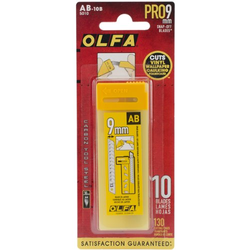 OLFA 5010 AB-10B 9mm Snap-Off Silver Blade, 10-Pack