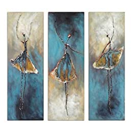 Wieco Art - Dancing Girls Modern Large Contemporary 3 Panels 100% Hand Painted Stretched and Framed Ballet Dancers Oil Paintings on Canvas Wall Art Work for Living Room Bedroom Home Decorations