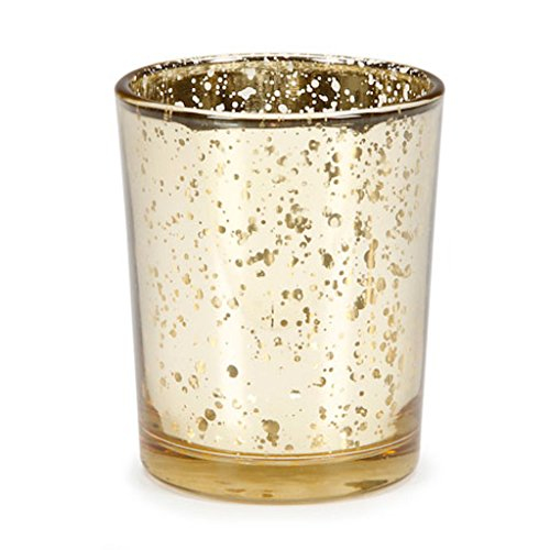 David Tutera Wedding Party Candle Votive Holders Pink Gold Burlap Silver (24, Gold Mercury)