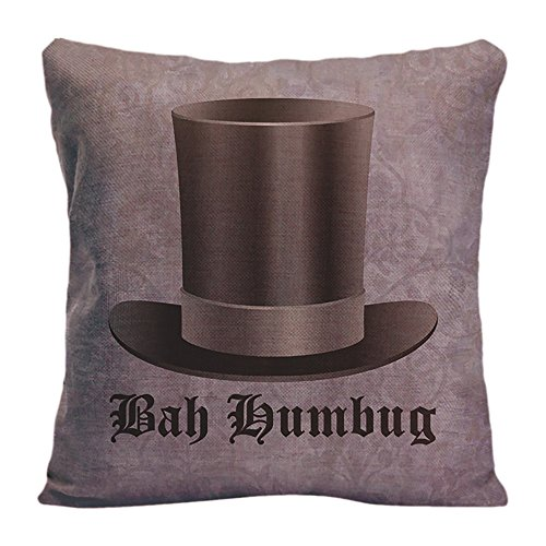 LDJ Cotton Polyester Sofa Seat Square Throw Pillow Case Decorative Cushion Cover Pillowcase Design With Scrooge Top Hat Bah Humbug Custom Pillow Cover Print Double Sides Sized 20x20 (White Satin Top Hat)