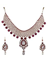 Lucky Jewellery Rani Pink Guluband Necklace Set With Mang Tika For Women