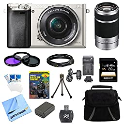 Beach Camera ILCE6000LS Alpha a6000 16-50mm Interchangeable Lens Camera Power Zoom Bundle with Accessories - Silver (6 Items)