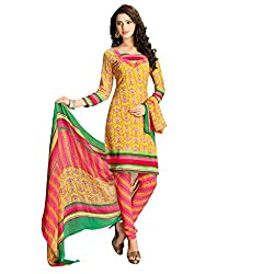 Anjali Presents Stylish Yellow and Red Printed Dress Material with Dupatta