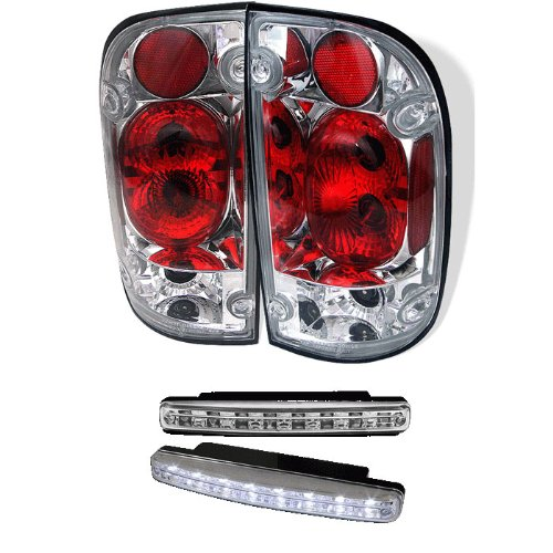 Carpart4U Toyota Tacoma Euro Style Chrome Tail Lights & Led Day Time Running Light Package