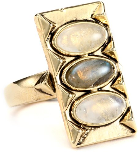 House of Harlow 1960 Gold-Plated Moonstone and Labradorite Ring, Size 7