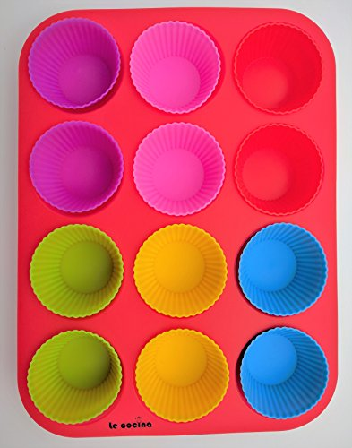 Le Cocina 12 cup Silicone Muffin Pan & 24 Cupcake Liners. Non-Stick, BPA Free, Safe & Easy to Clean