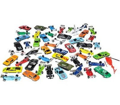 Die Cast Metal Plastic Toy Car, a Massive Set of 50 Toy Cars, Racer Cars, and Aircraft,