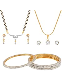 Manikya Collection Combo Set Containing 1 Bangle Set,1 Pendant Set,1 Mangalsutra Set, Bangle Size 2.6