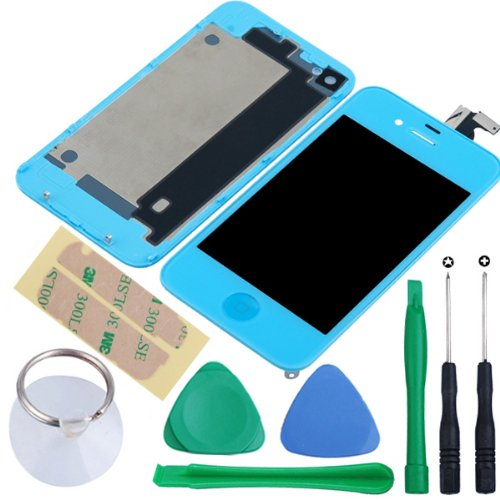 Replacement Full Set Front Housing Lcd Display & Touch Screen Digitizer Assembly With Home Button + Back Cover Housing + 8 Pcs Phone Repairing Tools Kit Compatible For Iphone 4 Gsm(At&T) - Light Blue