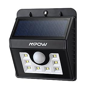 Mpow Foco Solar 8 LED Versión Mejorada Lámpara Solar Impermeable con Senosr de Movimiento,Lámpara de Pared / Jardín para Patio, Terraza, Patio, Jardín, Casa, Camino de Entrada, Escaleras, Pared Exterior [Clase de eficiencia energética A]