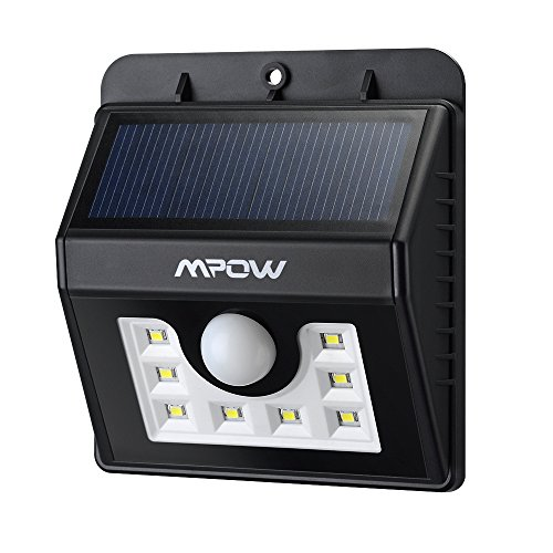8 LED Solar Motion Sensor Lights Mpow 3-in-1 Waterproof Solar Energy Powered Security Light Outdoor Bright Light Wall Lamp with 3 Intelligient Modes for Garden, Outdoor, Fence, Patio, Deck, Yard, Home, Driveway, Stairs, Outside Wall etc.( 8 Bright Nodes )