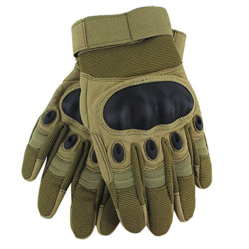 Aiyuda Men's Full Finger Military Tactical Gloves for Airsoft Shooting Paintball Hunting Riding Motorcycle Combat Training Army Outdoor Sports Coyote Brown L