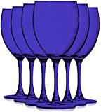 Cobalt Blue Colored Nuance Wine Glassware - 10 oz. set of 6- Additional Vibrant Colors Available by TableTop King