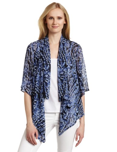 AGB Women's Printed Woven Bell-sleeved Twofer Cozie Top