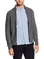 Dockers Chaqueta Punto Lana Cable Full Zip Sweater (Gris)