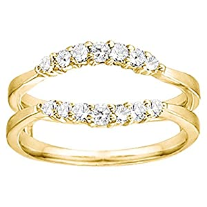0.35CT Diamonds Curved Wedding Ring Guard Enhancer set in Yellow Plated Sterling Silver (0.35CT TWT Diamonds G-H SI2-I1 )