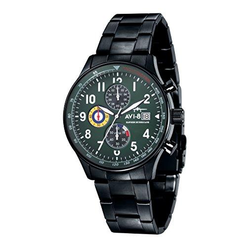 AVI-8 Hawker Hurricane Men's Quartz Watch with Green Dial Chronograph Display and Black Stainless Steel Plated Bracelet AV-4011-14