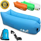 ChillaX Inflatable Lounge Airbed with Carry Bag and Bottle Opener, Blue