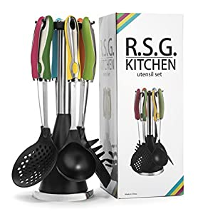 Kitchen Utensil Set with Holder * 7 Pc Cute Kitchen Utensils Come with Colorful Handles, Stainless Steel Core and Large Food Grade Nylon Heads* By RSG