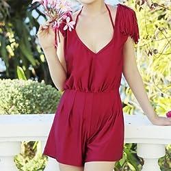 Krivani Women's Beach Wear (BW107_Multi-colored_MEDIUM)