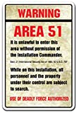 WARNING AREA 51 Novelty Sign gift spaceship aliens outer space moon spacecraft
