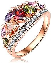 Comprar AnaZoz Joyería de Moda Multi Color Anillos de Dedo Genuino SWA Elements Cristal Austria 18K Chapado en Oro Rosa Anillos Para Mujer