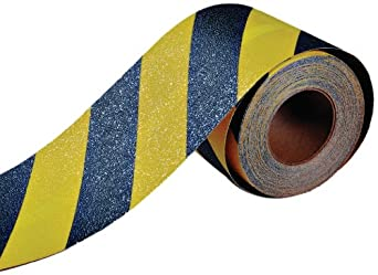 "Durable Corporation Anti-Slip Tape, 2"" Width x 720"" Length, Black with Yellow Stripes"