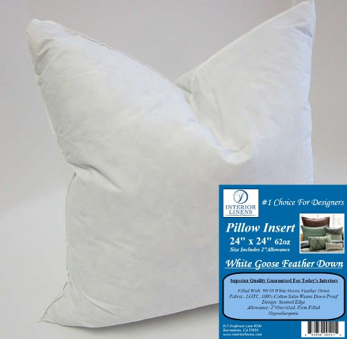 24 x 24 62oz pillow insert 9010 white goose feather down for Best down pillow inserts