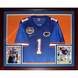 Percy Harvin Autographed Florida Gators (Blue #1 2008 BCS Patch) Deluxe Framed Jersey by PalmBeachAutographs.com