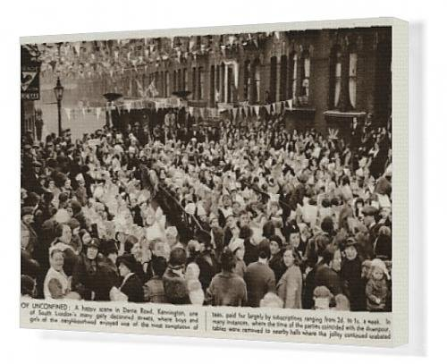 Canvas Print Of Busy Coronation Street Tea-Party