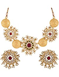 Swasti Jewels Bollywood Set With Kundan And Pearls Fashion Jewellery Necklace Earrings For Women