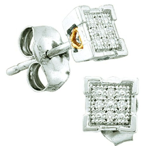 0.03 Carat (ctw) Sterling Silver Round Diamond Dice Shape Micro Pave Stud Earrings