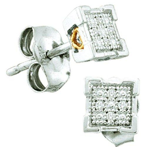 0.03 Carat (ctw) Sterling Silver Round Diamond Dice Shape Micro Pave Stud Earrings