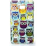 CaseiLike�, S02C3300-Baby Blue, Muttersprachen Owl Grafik, Snap-on zur�ck Geh�use f�r Samsung Galaxy S2 S 2 S II SII i9100 mit Displayschutzfolie 1pcs.