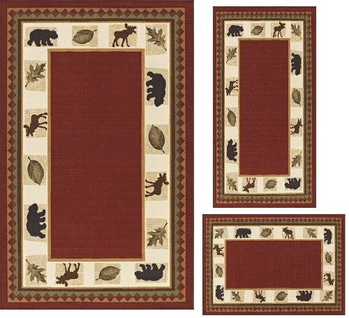 MODERN Lodge Cabin Moose Baby Bear 3 PIECE AREA RUG SET RED