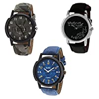 Relish Casual Analog Multicolour Dial Wrist Watch for Men Combo - Pack of 3